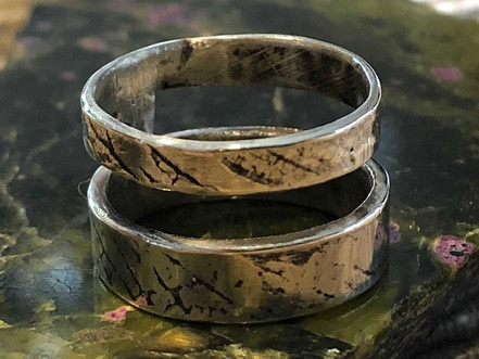 double band leaf print ring