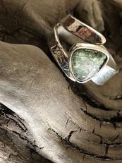 Tourmaline and leaf print adjustable ring
