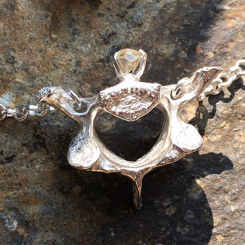 Solid St. Silver Cast Wallaby Vertebra With Tas Topaz Crystal