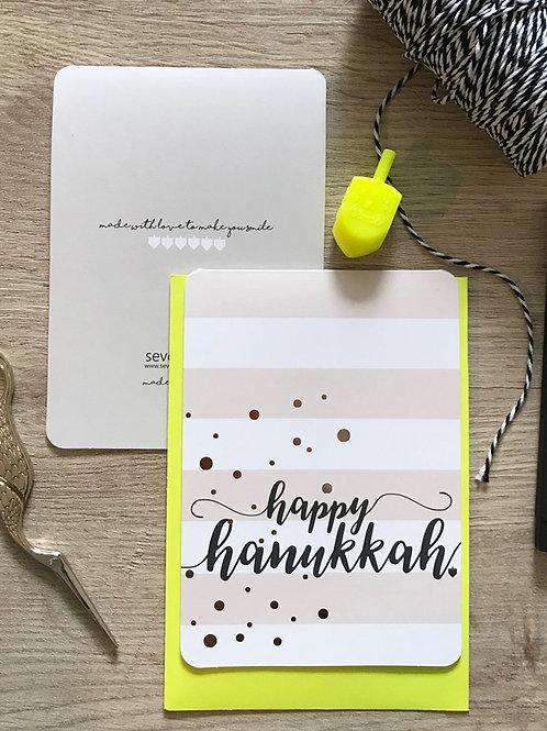 wholesale - happy hanukkah - gold dots / folded card