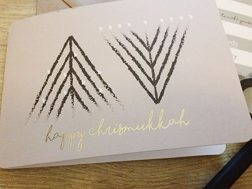 happy chrismukkah- hanukkiah-tree / folded card