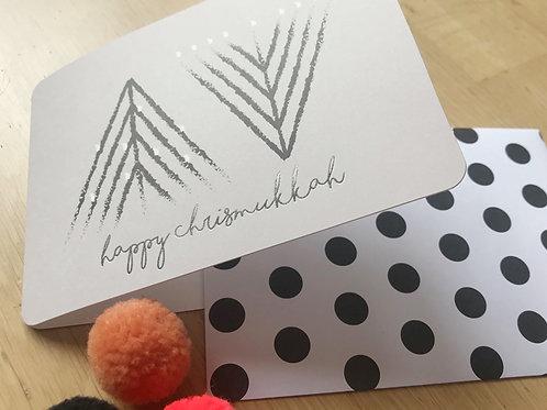 happy chrismukkah- hanukkiah-tree / folded card