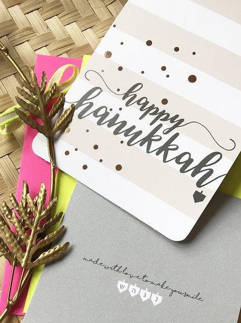 happy hanukkah - gold dots / folded card