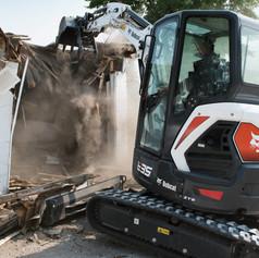 Bobcat-E35-Excavator-Demolishing-Garage_