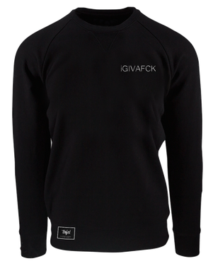 IGIVAFCK White Text - Black Crewneck - T