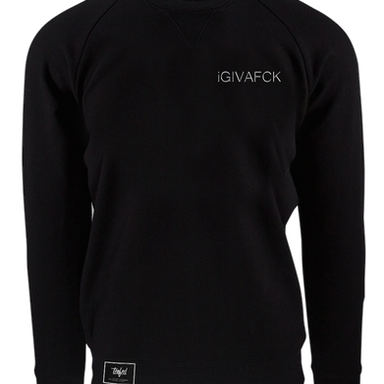 IGIVAFCK White Text - Black Crewneck - T