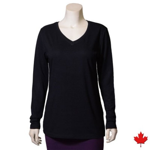 Women's Hemp V-Neck Long Sleeve Top