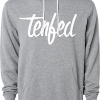 Tenfed White Text - Grey Hoodie - Tenfed