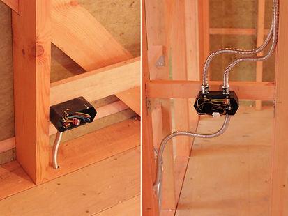 Проводка в каркасном доме в металлической трубе