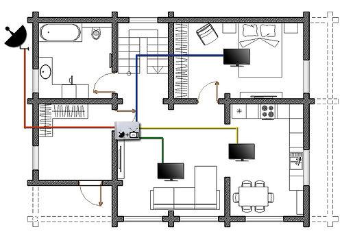 Схема ТВ розеток на 1-м этажа в деревянном доме