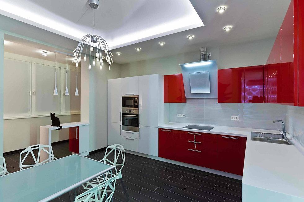 Дизайн 2-х комнатных квартир. Ремонт 2-х комнатных квартир. Дизайн проект кухни в красных тонах. Проект кухня в красных тонах