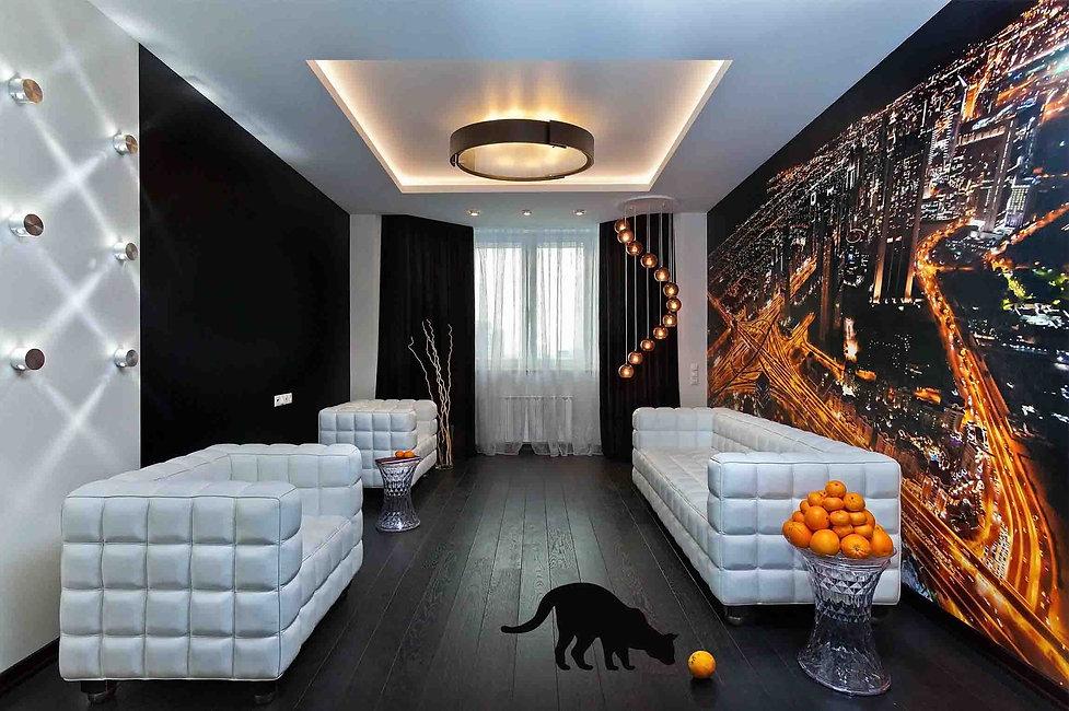 Дизайн проект 2-х комнатной квартиры. Дизайн квартиры в темных тонах. Дизайн гостинной с панно. Ремонт гостинной