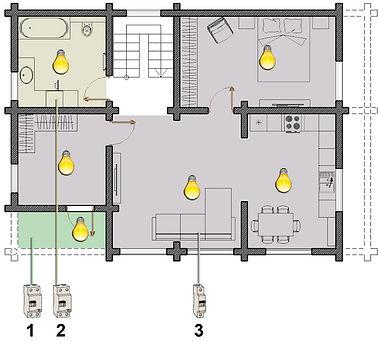 Схема освещения 1-го этажа в деревянном доме