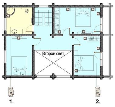Схема розеток на 2-м этаже в деревянном доме