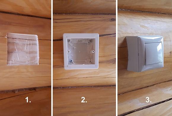 Установка накладных розеток / выключателей на бревно