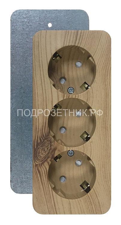 Металлическая подложка для накладных розеток Schneider El. Blanca на 3 поста