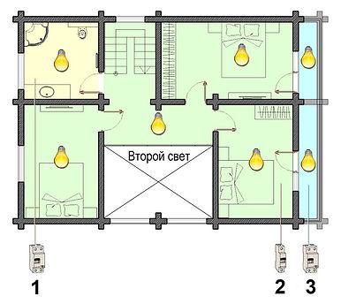 Схема освещения 2-го этажа деревянного дома