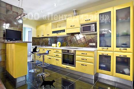 Дизайн ремот 3-х комнатной квартиры. Дизайн кухни в жёлтом цвете