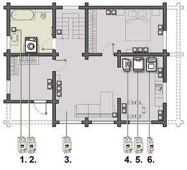 Схема розеток на 1-м этаже в деревянном доме