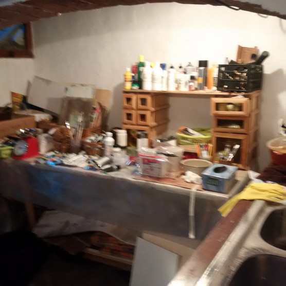 Clean up and supply room in the studio.