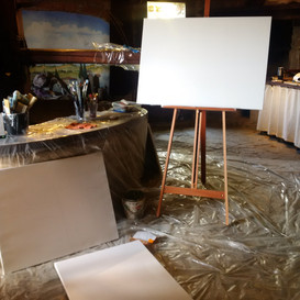 The studio is very large, this is the area where I set up to work. On the left is the original olive press.