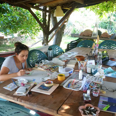 When the weather was nice, Jessica and I liked to work in the garden. In this case , watercolours.