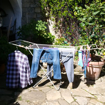 Laundry day !  Our drying rack was set up in the courtyard.