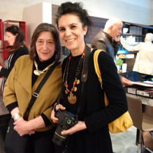 Ellen Coffey on the left and Mimma Verduci on the right. This was at the vernisage  of Alessandro Grazi Opere. Great food, great company and great art.