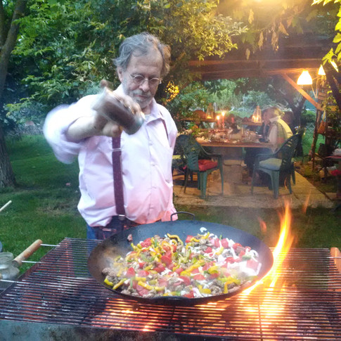 Duccio preparing an exquisite dish for one of our garden parties !