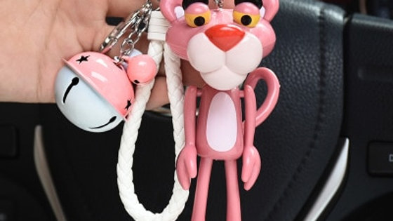 Cute Anime Cartoon Pink Panther Bell Keychain