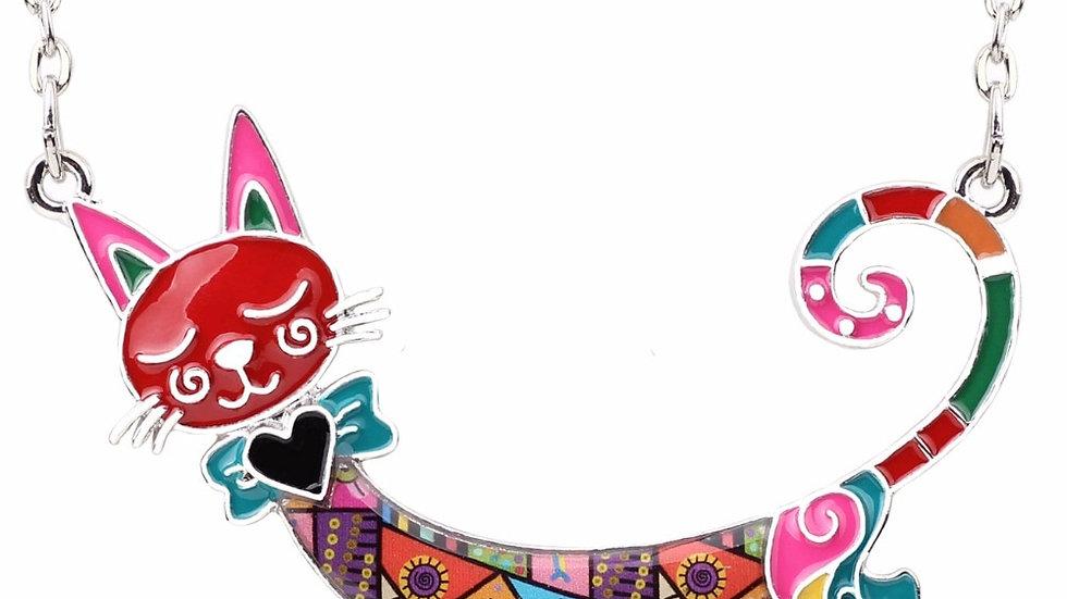 Statement Maxi Enamel Kitten Cat Choker Necklace Alloy Pendant Chain