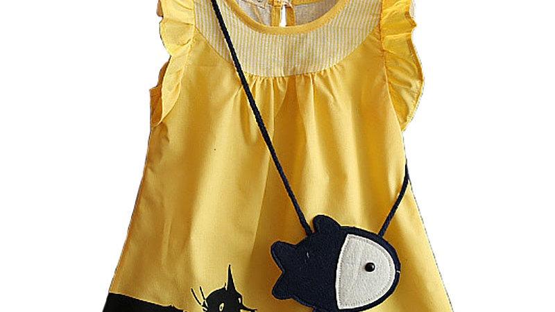 Girls Summer Dress Cat Catch Fish Bag