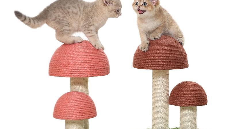 Catural Linen Cat Climbing Frame Mushroom Shape