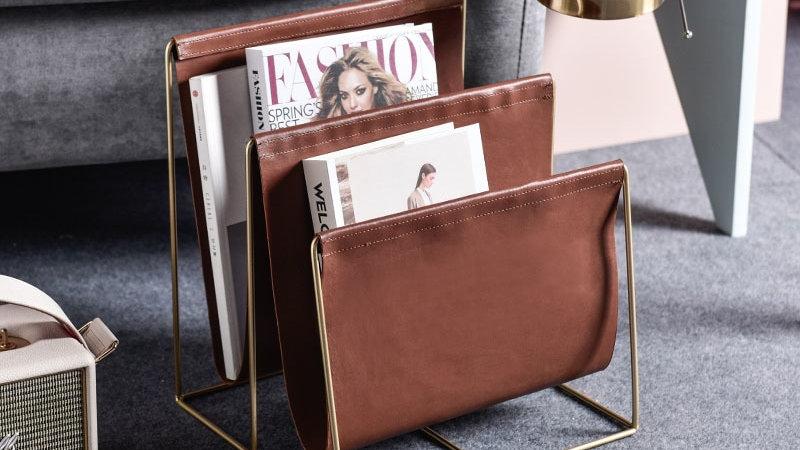 Nordic Golden Metal Magazine Rack Double Layer PU Leather Bookshelf