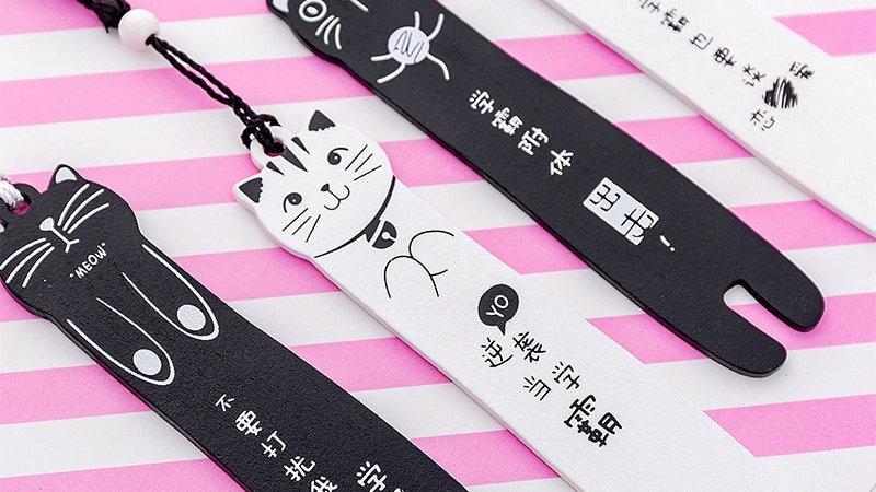 Kawaii Cartoon Cat Wooden Bookmarks