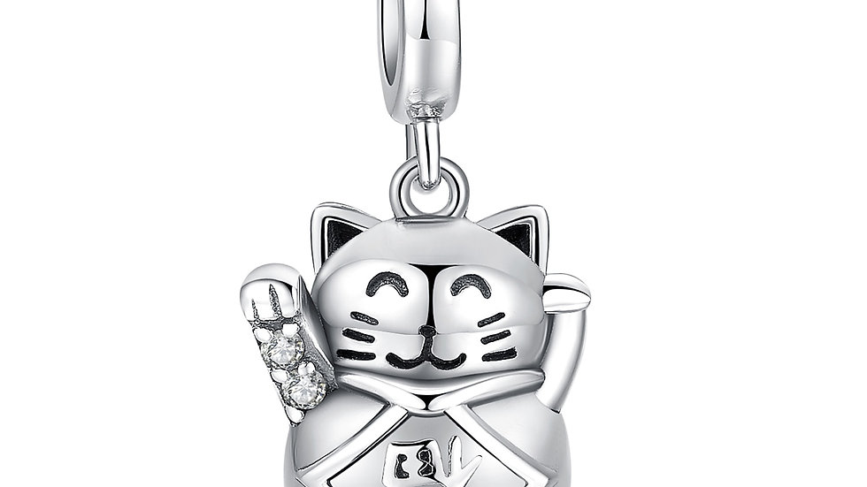 Lucky Cat 925 Sterling Silver Beads Charms