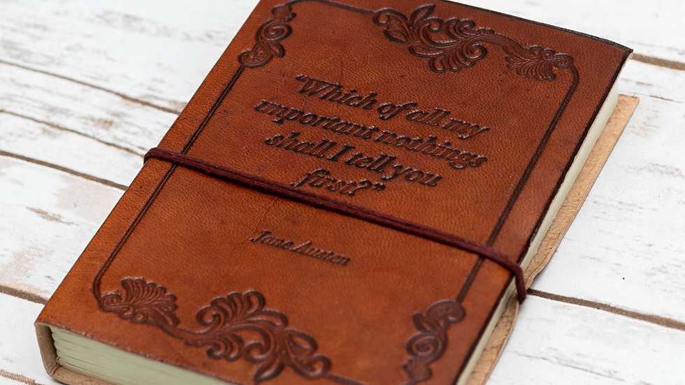 Important Nothings Jane Austen Quote Leather Journal - 7x5