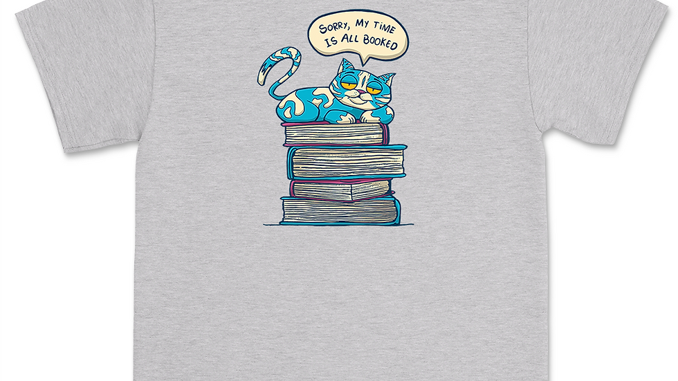 My Time Is All Booked Shirt Unisex Book Lover Tee Cat With Books