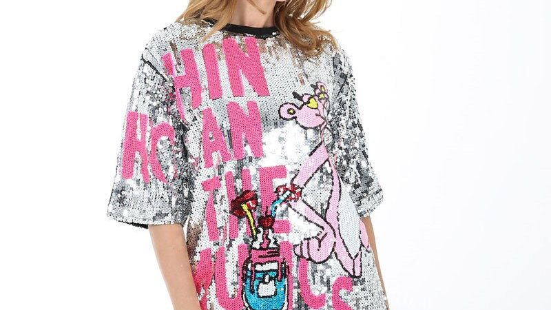 Letter Sequins Pink Panther Summer Print T Shirt Dress