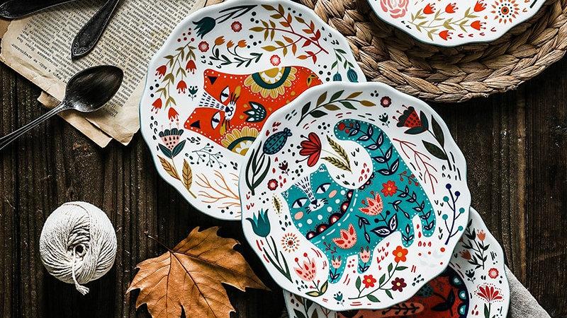 8 Inch Nordic Creative Cartoon Hand Painted Cat Plate Ceramic