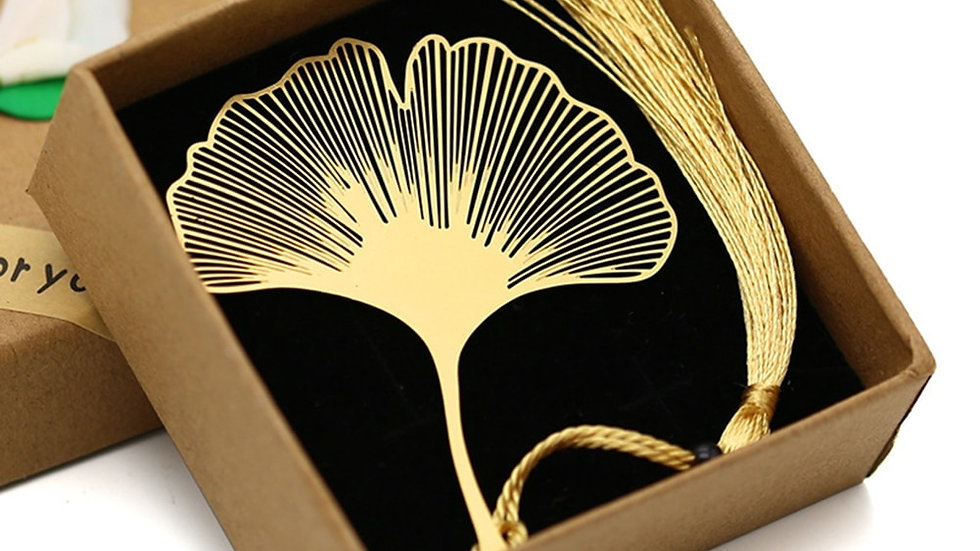 Vintage Chinese Style Gold Coloured Metal Hollow Ginkgo Leaf Tassel Bookmark