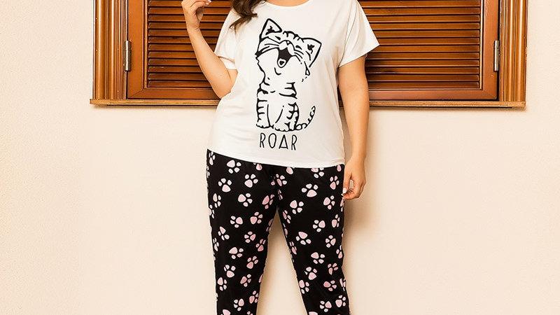 Plus Size Women Cats Cartoon Printing Pajama Set