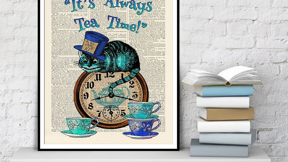 Its Always Tea Time Dictionary Art Painting Alice in Wonderland Cat