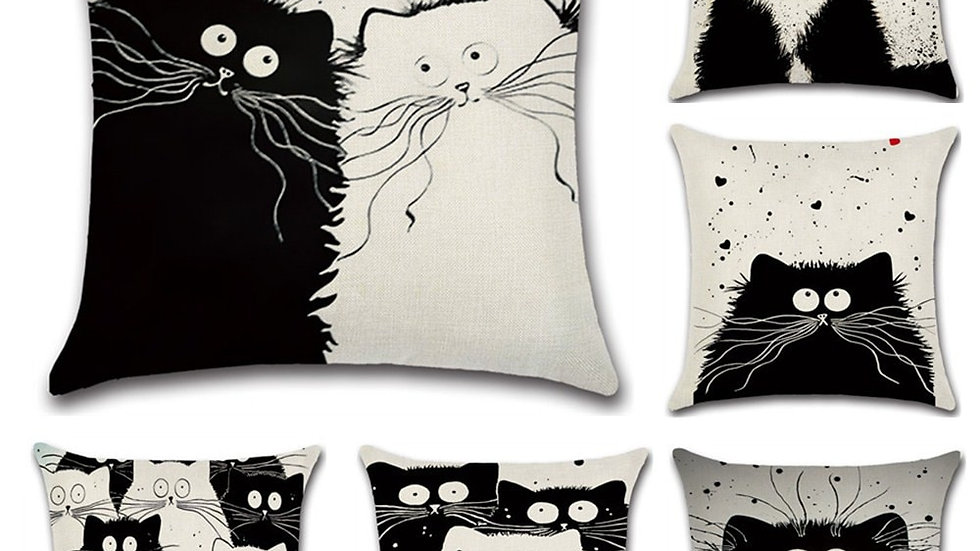 Cartoon Cat Linen Cushion Cover 45X45cm
