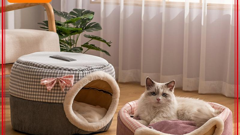 2in1 Cats House Winter Cat Bed Indoor Cave Foldable Pet