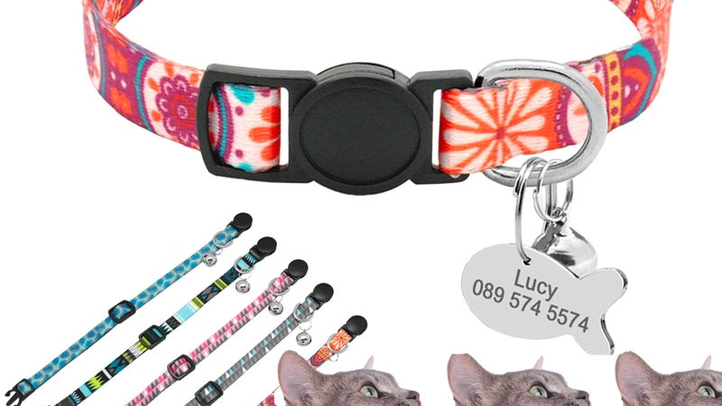 Cute Print Personalised Cat Collar Quick Release Custom