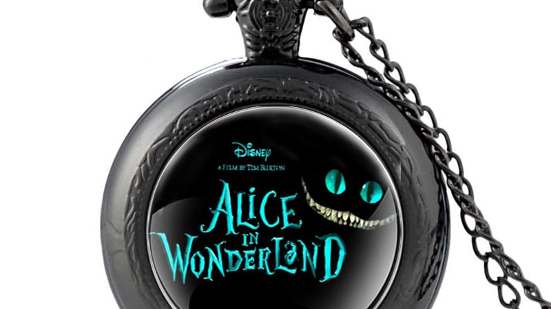 Black Alice in Wonderland Theme Quartz Pocket Watch Retro