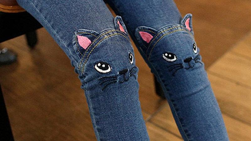 Cute Cartoon Pattern Kids Jeans