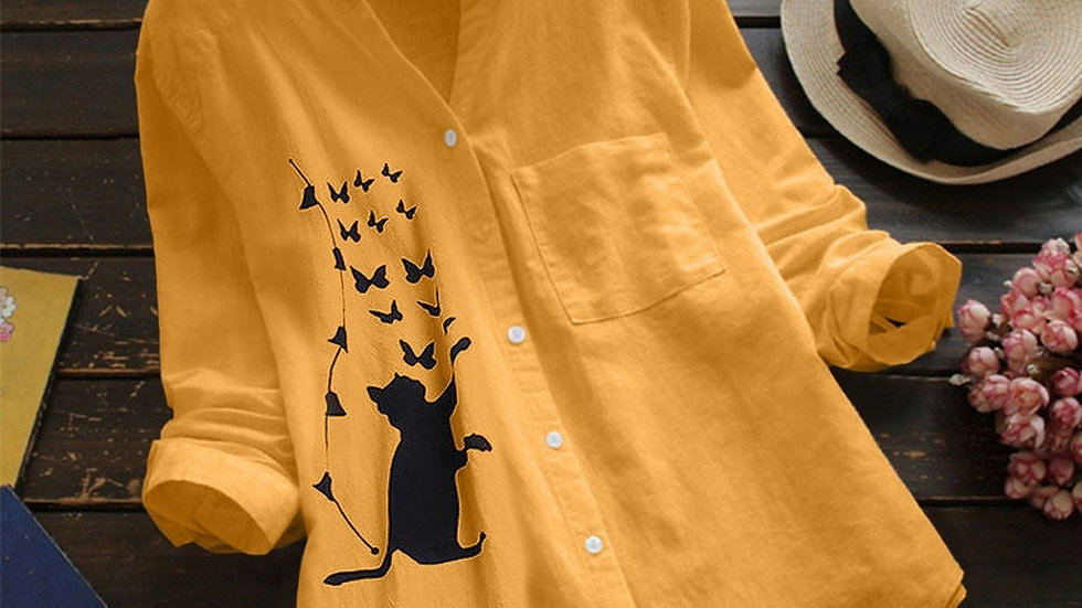 Cartoon Cat Blouses Women Cotton Linen Pocket Long Sleeve Button Shirt