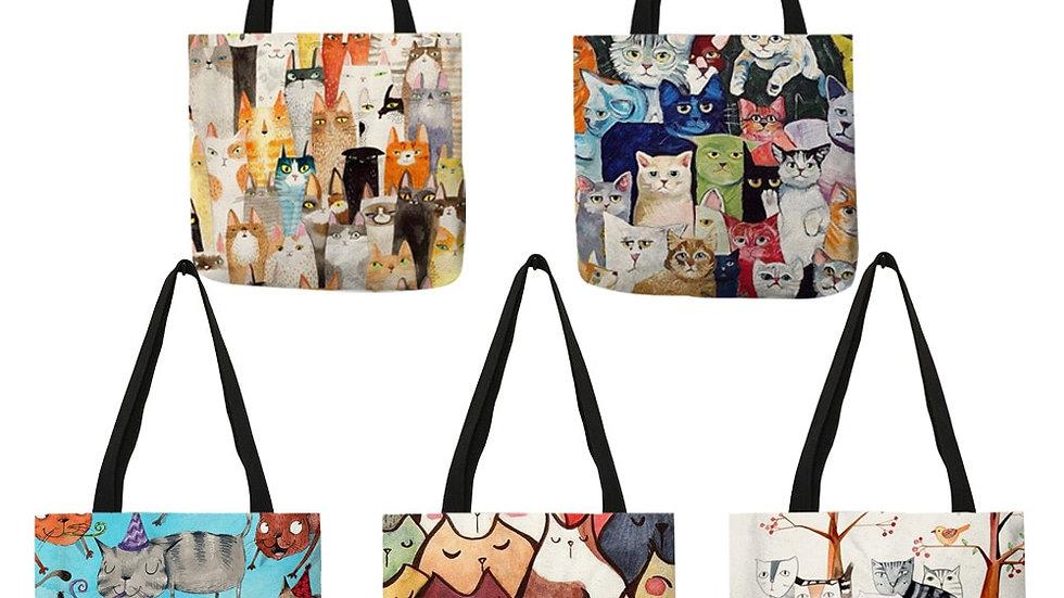 Cute Kawaii Cartoon Anime Cat Print Linen Tote Bag
